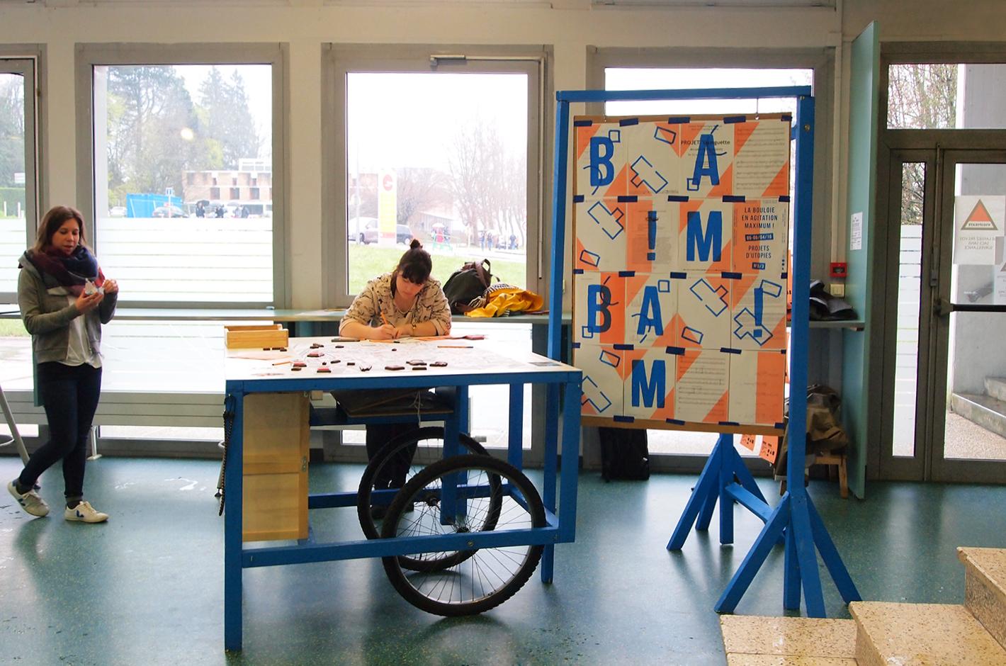 BAM ! La Bouloie en Agitation Maximum - Besançon - Campus de la Bouloie - meuble et affiche 3 projets d'utopies